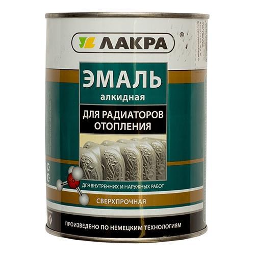Эмаль алкидная для радиаторов 0,9кг белая п/матовая Лакра