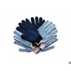 Перчатки полушерстяные с ПВХ черные , пар